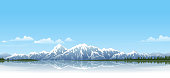 Snow covered mountain range on a lake. All elements are saparate objects, grouped and arranged in 8 layers. File is made with gradient. Global color used. 300dpi jpeg included.Please take a look at other works of mine linked below.