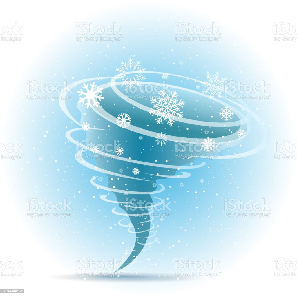 Snow tornado icon blue background vector art illustration