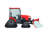 Red snow tractor icon in flat style isolated on white background. Vector illustration.