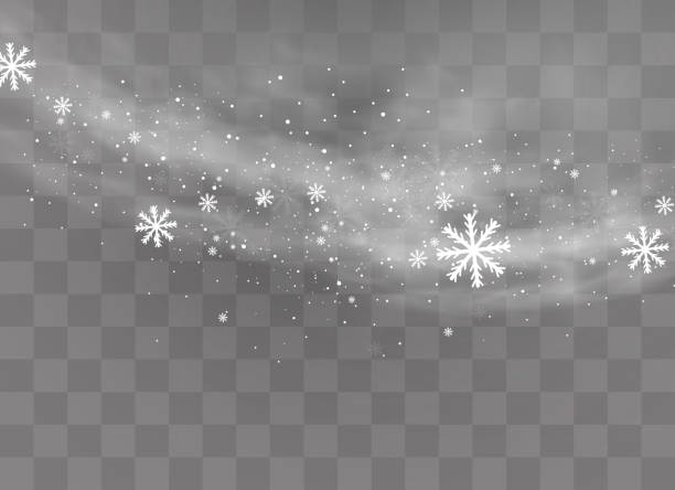 Snow transparent background. Snow and wind on a transparent background. White gradient decorative element.vector illustration. winter and snow with fog. wind and fog. christmas backgrounds stock illustrations