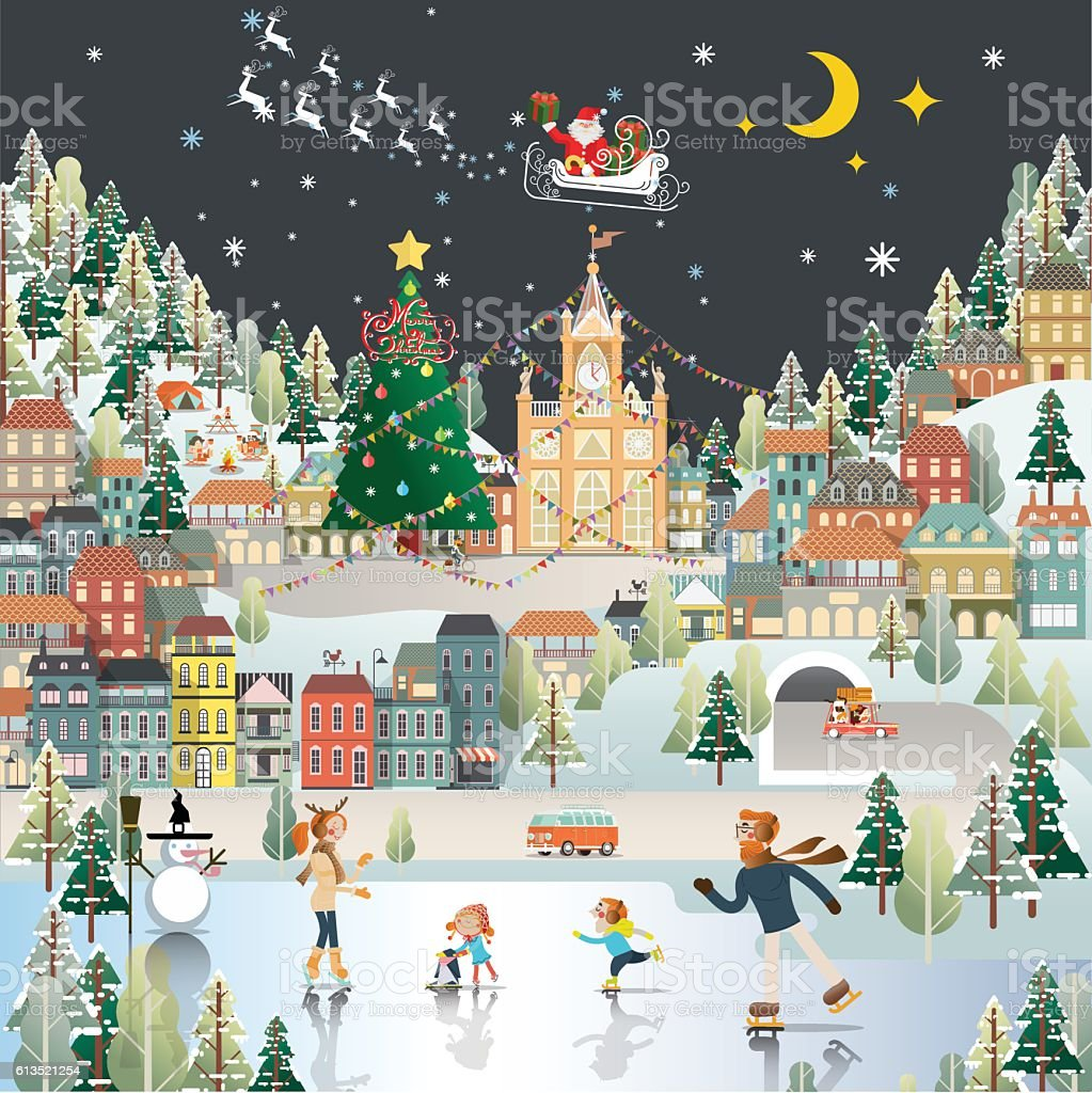 Snow Village Landscape night scene wallpaper, santa claus is com vector art illustration
