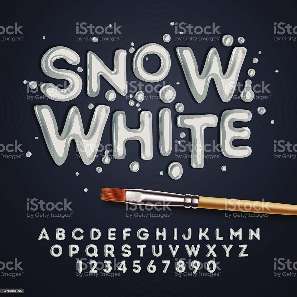 Blanca nieves alfabeto y números - ilustración de arte vectorial