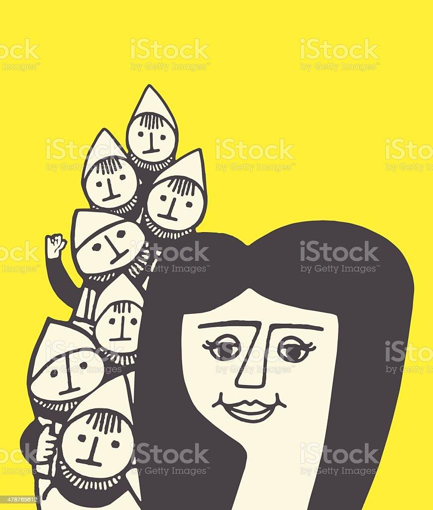 Snow White and the Seven Dwarves - ilustración de arte vectorial