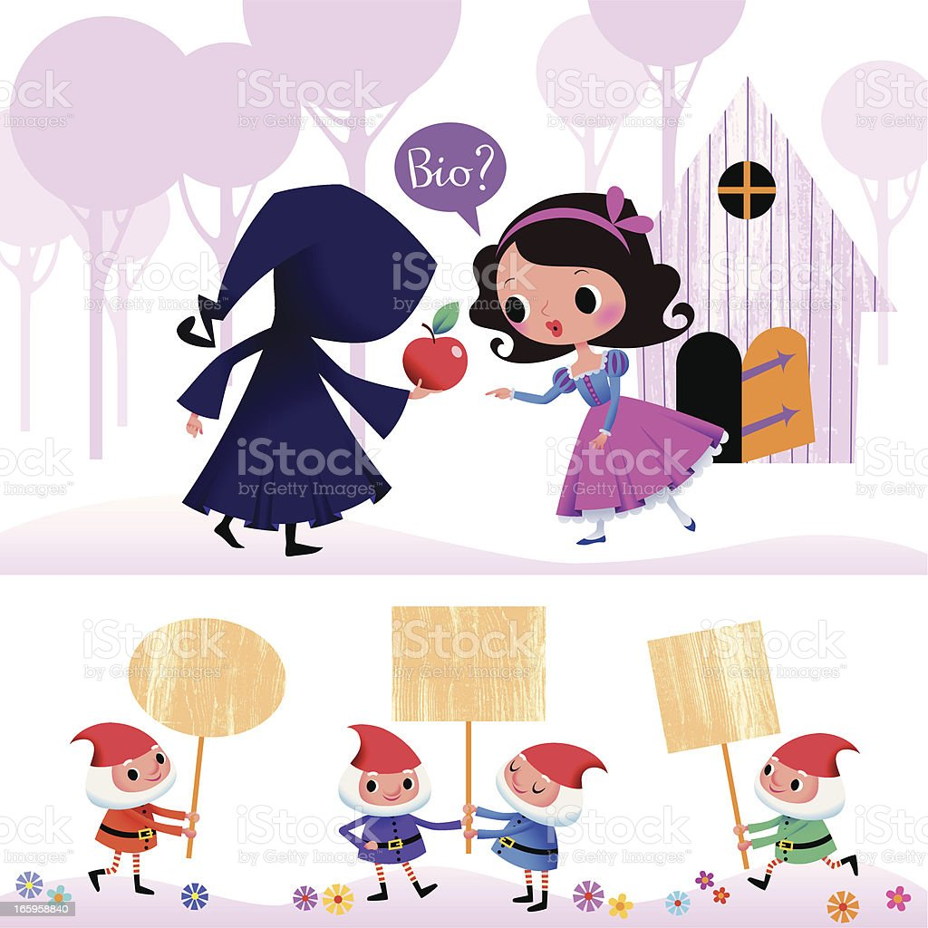 Snow White and Witch in the Wood. Dwarfs Set. royalty-free stock vector art