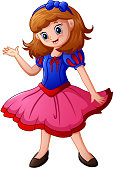 Vector illustration of Snow white cartoon in pink dress