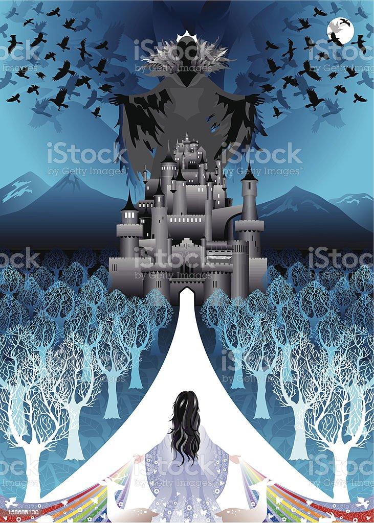 Blanca nieves devoluciones al mal castillo con cama queen - ilustración de arte vectorial