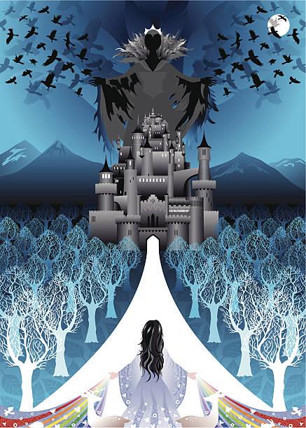 Snow White returns to evil queen castle vector art illustration