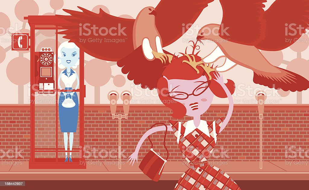 Snow White & Rose Red: Bird Attack royalty-free snow white rose red bird attack stock vector art & more images of 1950-1959