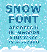 Snow winter font. Snowy assortment, set of northern characters and figures, cold season decoration. Vector illustration on blue background