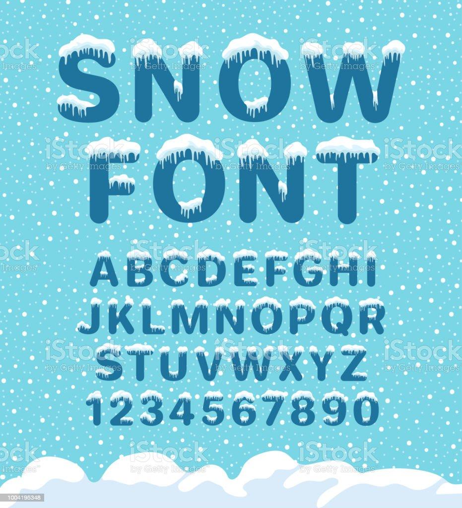 Snow winter font vector art illustration