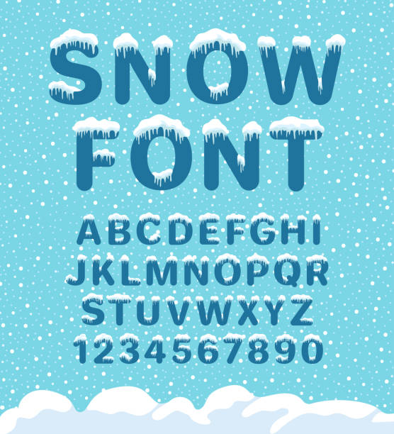 Snow winter font Snow winter font. Snowy assortment, set of northern characters and figures, cold season decoration. Vector illustration on blue background ice stock illustrations