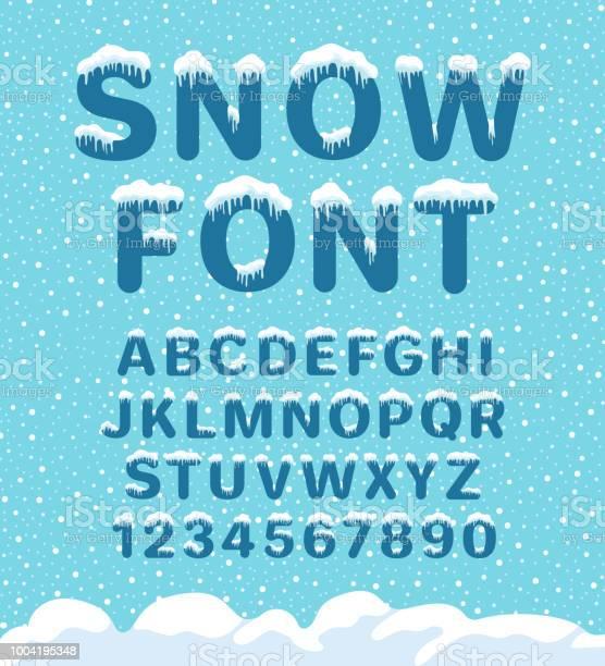 Snow Winter Lettertype Stockvectorkunst en meer beelden van Alfabet