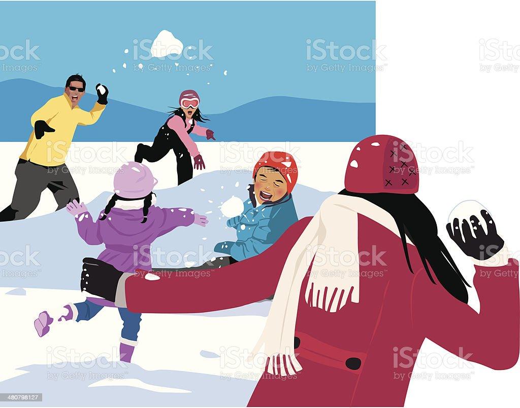 Guerra de bola de neve C - ilustração de arte em vetor