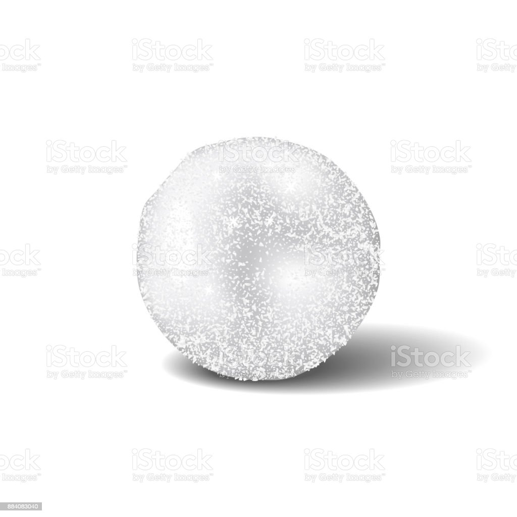 Snowball realistic isolated with shadow on white background. vector art illustration