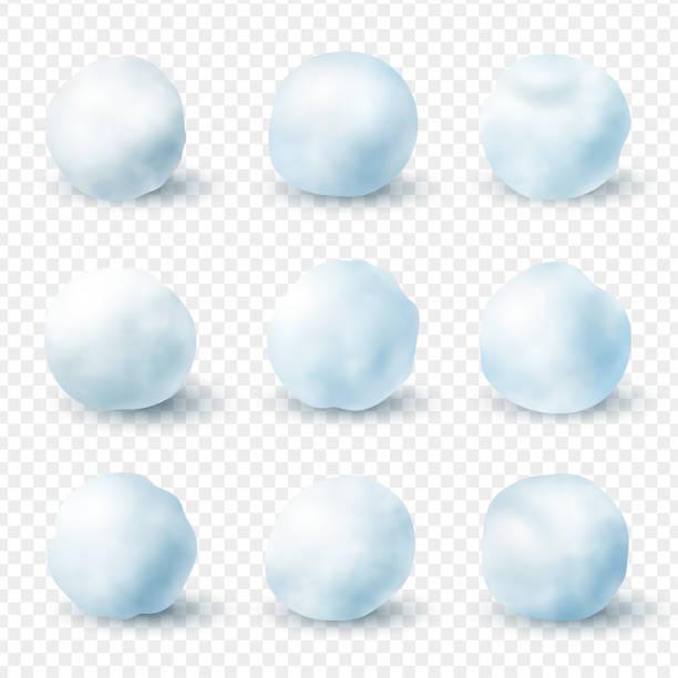 illustrazioni stock, clip art, cartoni animati e icone di tendenza di snowballs realistic winter frost set, christmas decoration - grandine