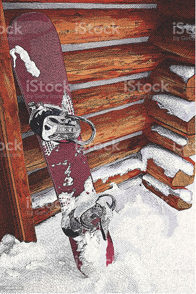 Snowboard And Log Cabin royalty-free stock vector art