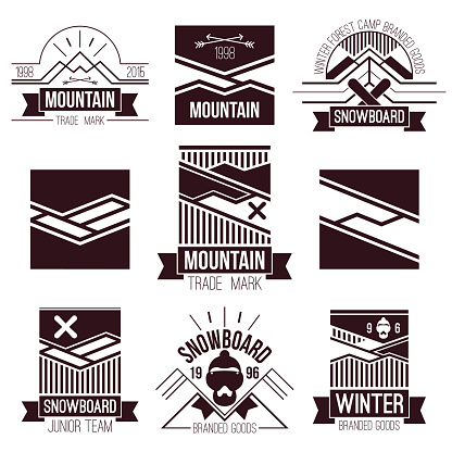 Snowboard and mountains emblems