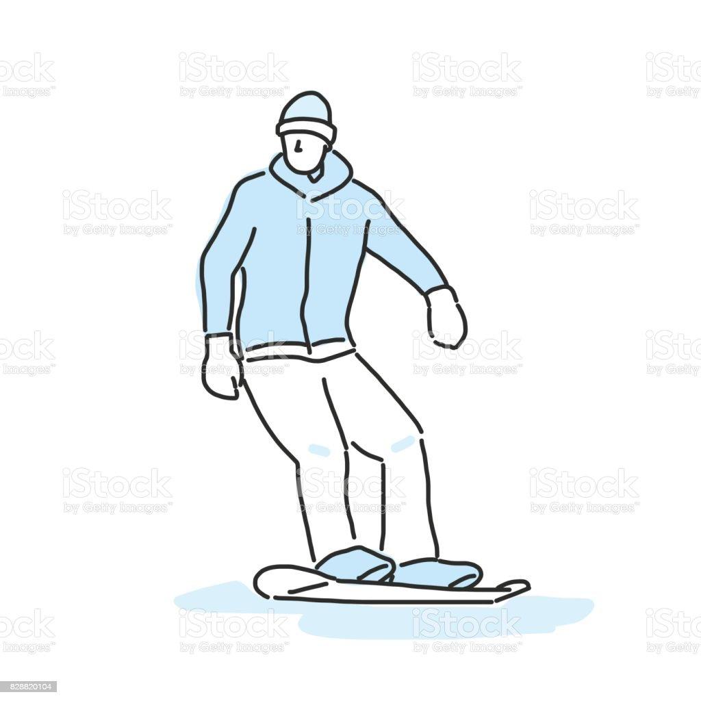 snowboard und snowboard wintersport zeichnen von linien. Black Bedroom Furniture Sets. Home Design Ideas