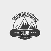 Snowboard club icon, label or badge template. Snowboarding symbol with mountains. WInter extreme sport.