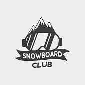 Snowboard club icon, label or badge template. Vector symbol with glasses and mountains. WInter extreme sport icon.