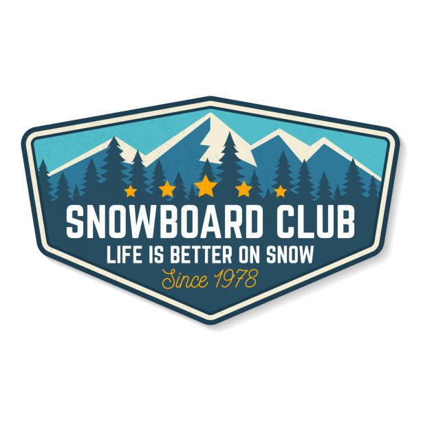 stockillustraties, clipart, cartoons en iconen met snowboard club patch. vectorillustratie. concept voor shirt, print, stempel of tee. ontwerp met bos en berg silhouet. extreme wintersport. - patchwork