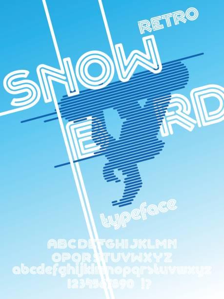 illustrazioni stock, clip art, cartoni animati e icone di tendenza di snowboard font - negozio sci