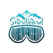 Snowboard Hand Drawn Lettering Print with Mask and Mountains
