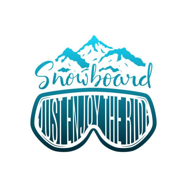 illustrazioni stock, clip art, cartoni animati e icone di tendenza di snowboard hand drawn lettering print with mask and mountains - negozio sci