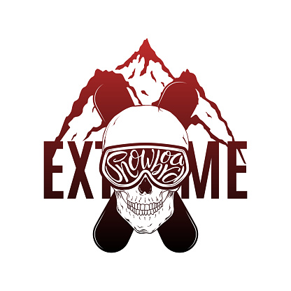 Snowboard Hand Drawn Lettering Print with Skull and Mountains