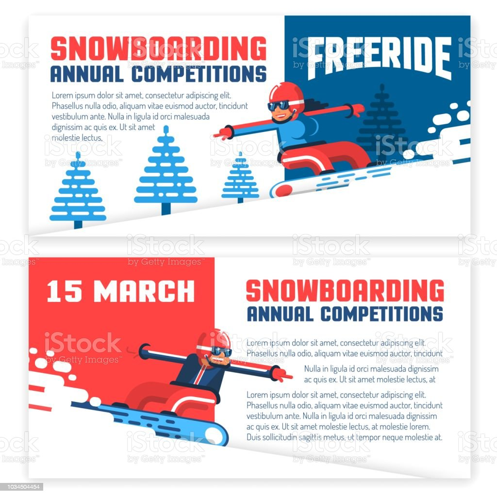 snowboard horizontal flyers invitations tickets two design options