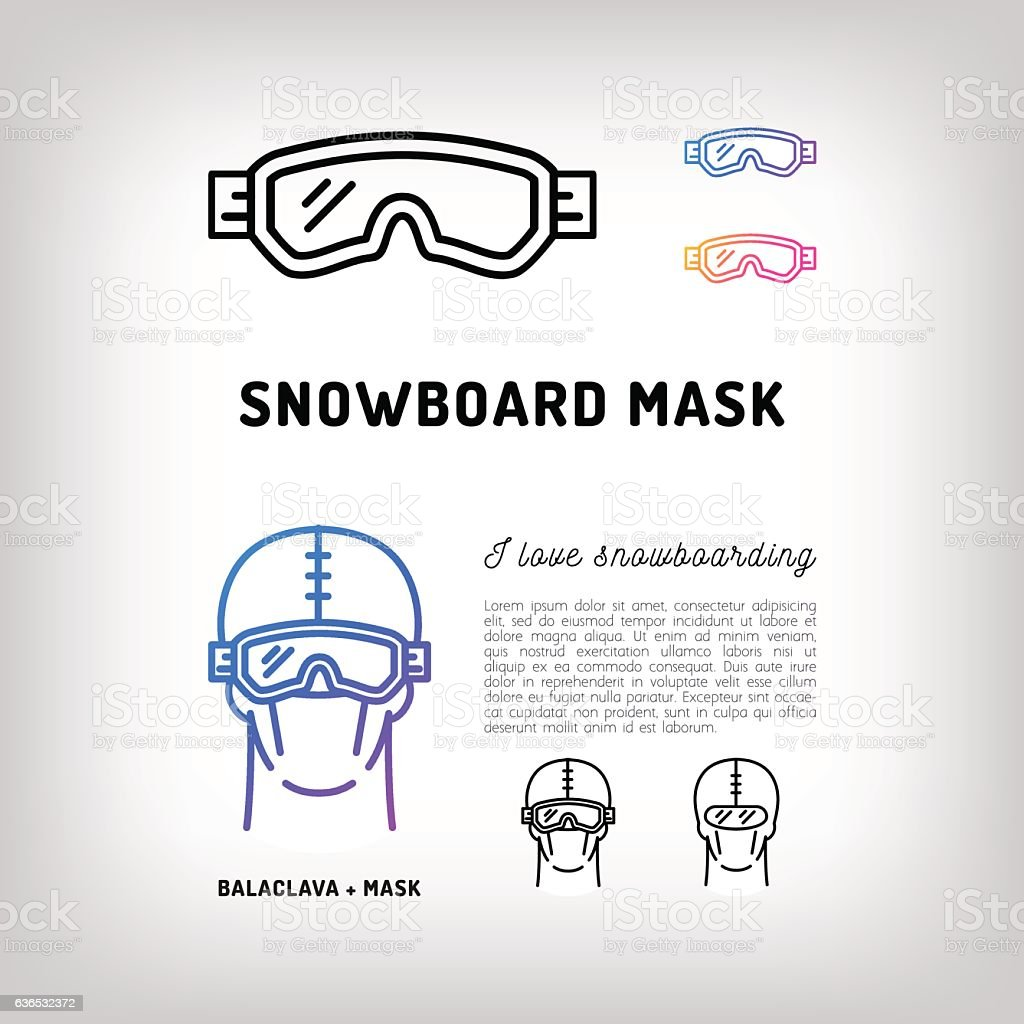 Snowboard mask, Hockey and ski goggles, Winter sport face equipment vector art illustration