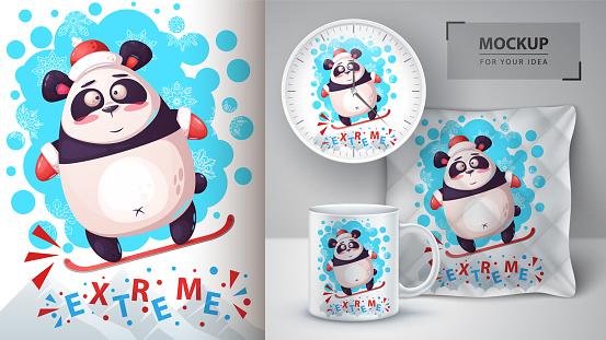 Snowboard panda - mockup for your idea