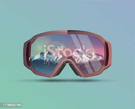 Snowboard protective mask with mountains landscape on reflection. Mountain sky glasses. Snowboarding Goggles. Extreme sport vector eps 10 illustration background.