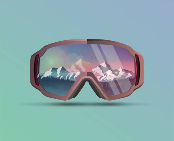 illustrazioni stock, clip art, cartoni animati e icone di tendenza di snowboard protective mask with mountains landscape on reflection. mountain sky glasses. snowboarding goggles. extreme sport vector background. - negozio sci