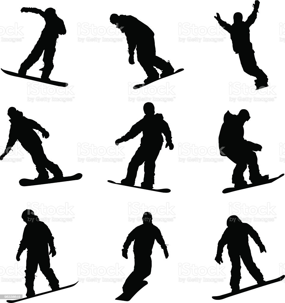 Snowboard sylwetki mężczyzn - Grafika wektorowa royalty-free (Białe tło)