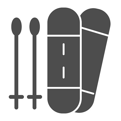 Snowboard solid icon. Sport board and sticks illustration isolated on white. Snowboarding symbol glyph style design, designed for web and app. Eps 10.