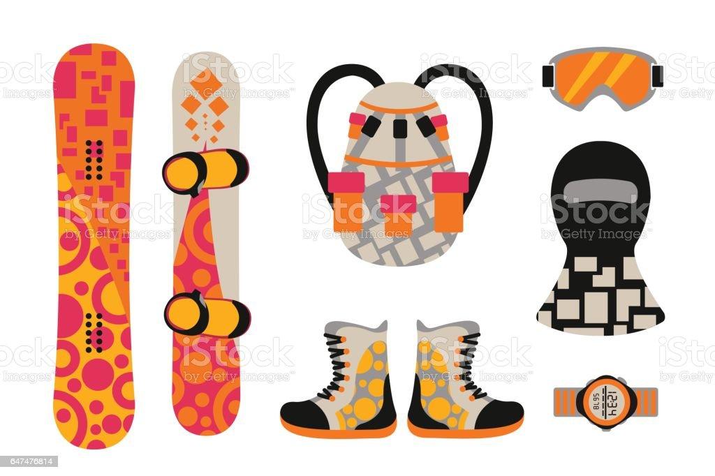 591dca593cd Snowboard sport kläder och verktyg element royaltyfri snowboard sport kläder  och verktyg element-vektorgrafik och