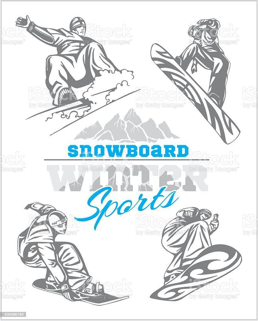 Snowboard - winter sport. Vector stock illustration. vector art illustration