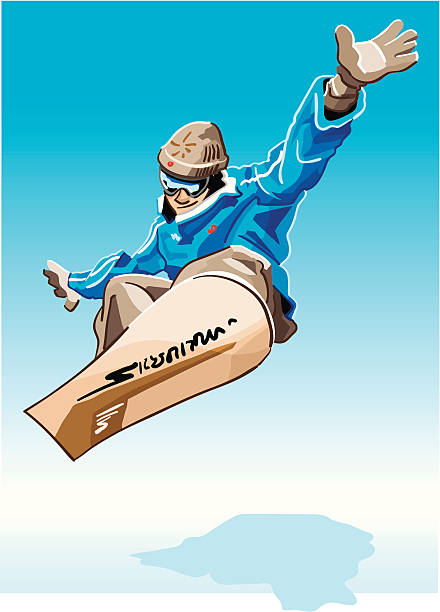 """Snowboarder Blue """"Vector Illustration of a jumping snowboarder with a blue jacket. The background is on a separate layer, so you can use the illustration on your own background. The colors in the .eps and .ai-files are ready for print (CMYK). Included files: EPS (v8), AI (CS2) and Hi-Res JPG."""" winter sport stock illustrations"""