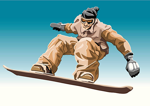"""Snowboarder Brown """"Vector Illustration of a cool snowboard guy with a brown jacket. The background is on a separate layer, so you can use the illustration on your own background. The colors in the .eps and .ai-files are ready for print (CMYK). Included files: EPS (v8), AI (CS2) and Hi-Res JPG."""" winter sport stock illustrations"""