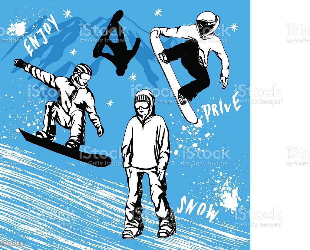 Snowboarder hand drawn illustration. Extreme winter sport vector art illustration