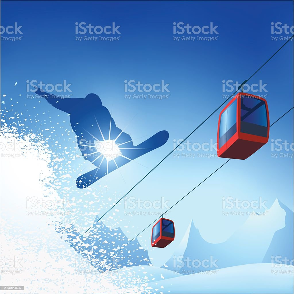 Snowboarder in the mountains vector art illustration