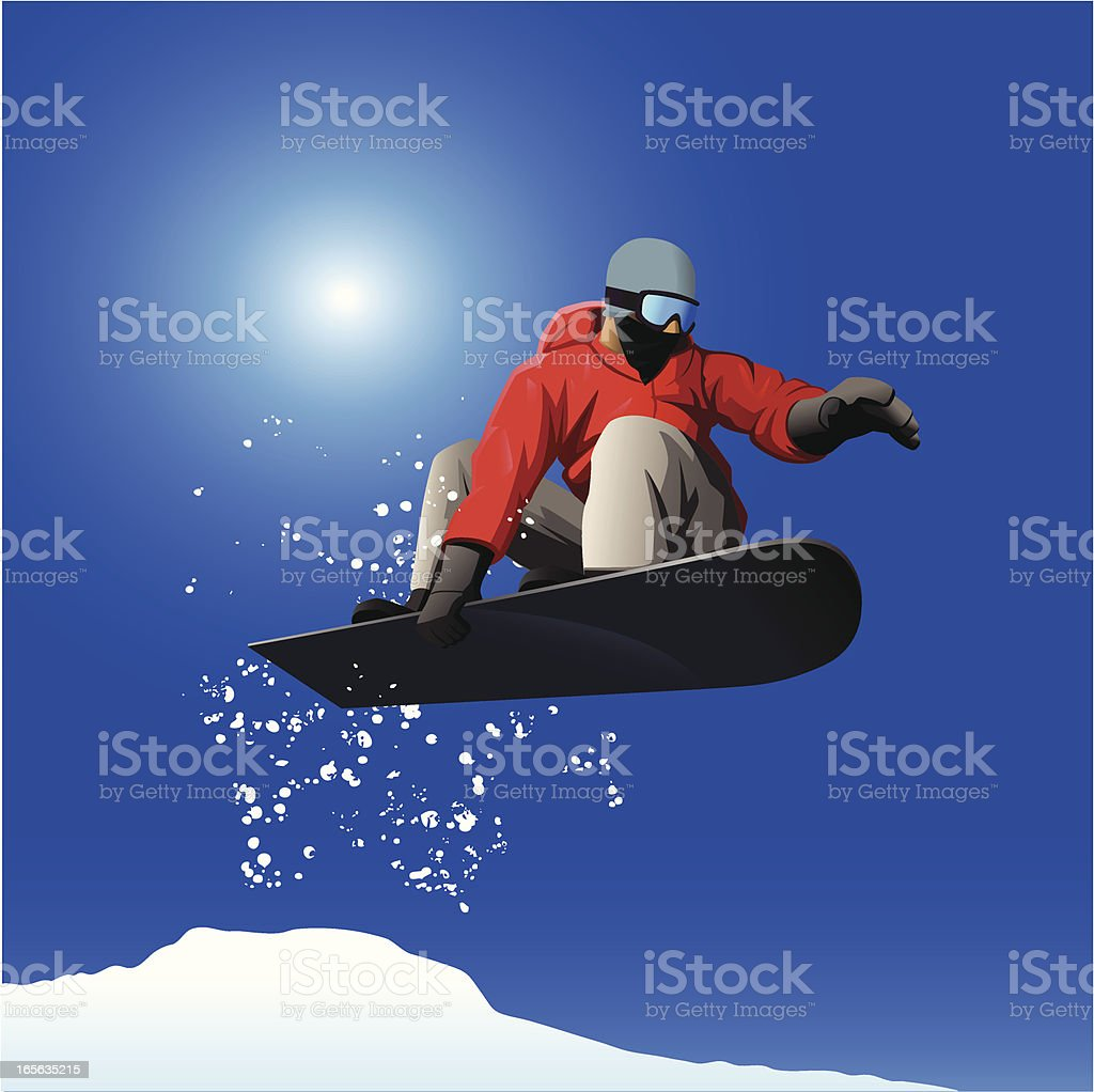 Snowboarder jumping vector art illustration