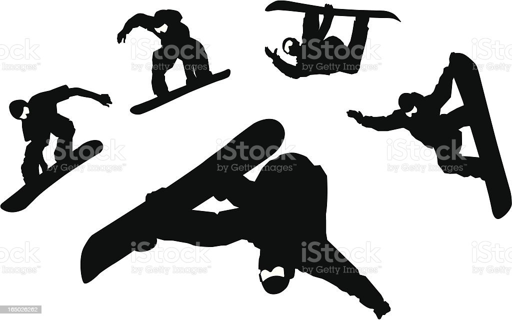 Snowboarder Silhouettes royalty-free snowboarder silhouettes stock vector art & more images of 1990-1999