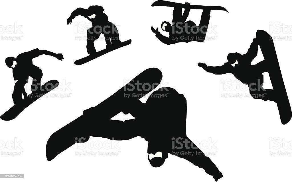 Snowboarder Silhouettes vector art illustration
