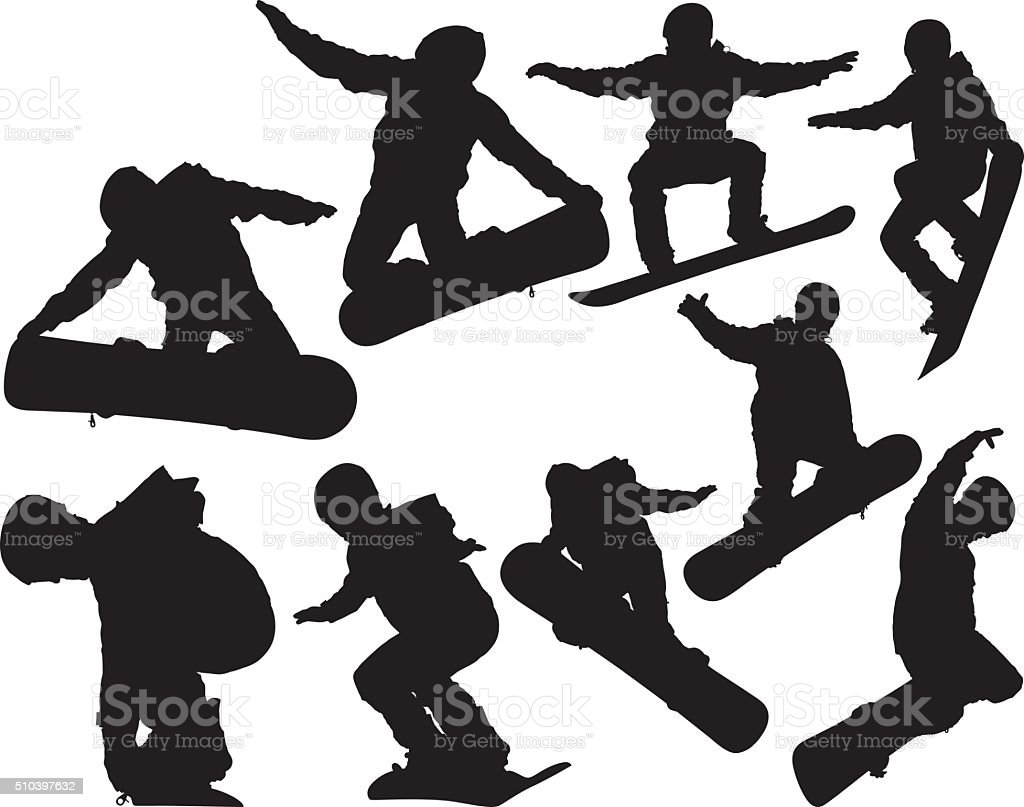 Snowboarder snowboarding vector art illustration