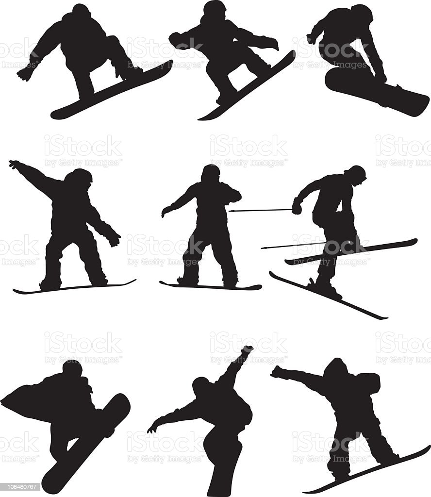 Snowboarders royalty-free stock vector art