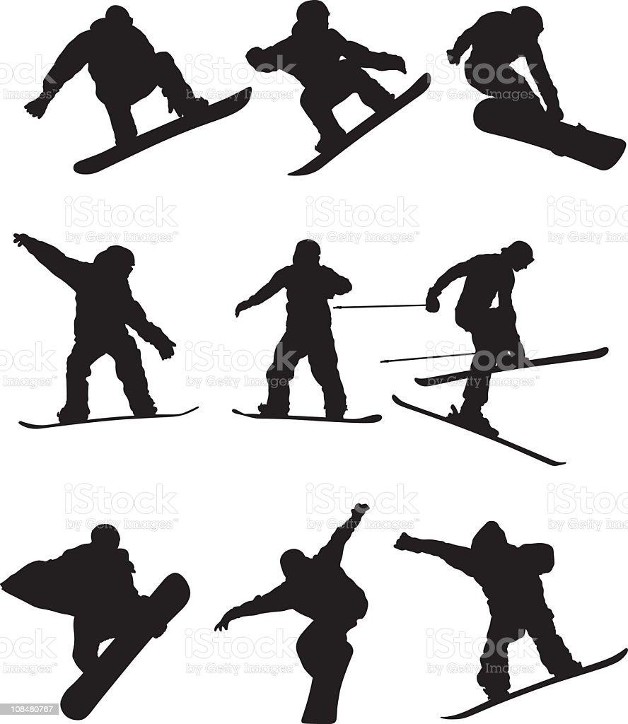 Snowboarders vector art illustration