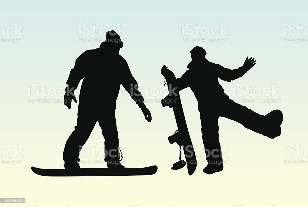 Snowboarders - Vector royalty-free snowboarders vector stock vector art & more images of bizarre