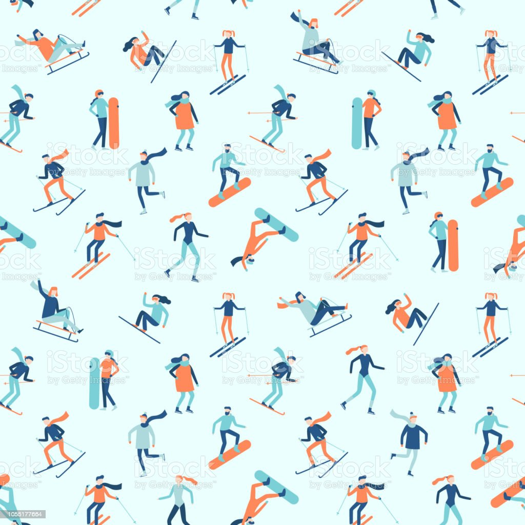 Snowboarding and skiing seamless pattern. Winter sport activities,...